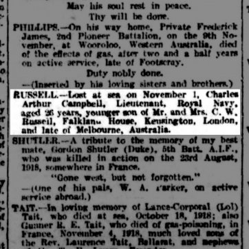 Argus on Saturday 16 November 1918