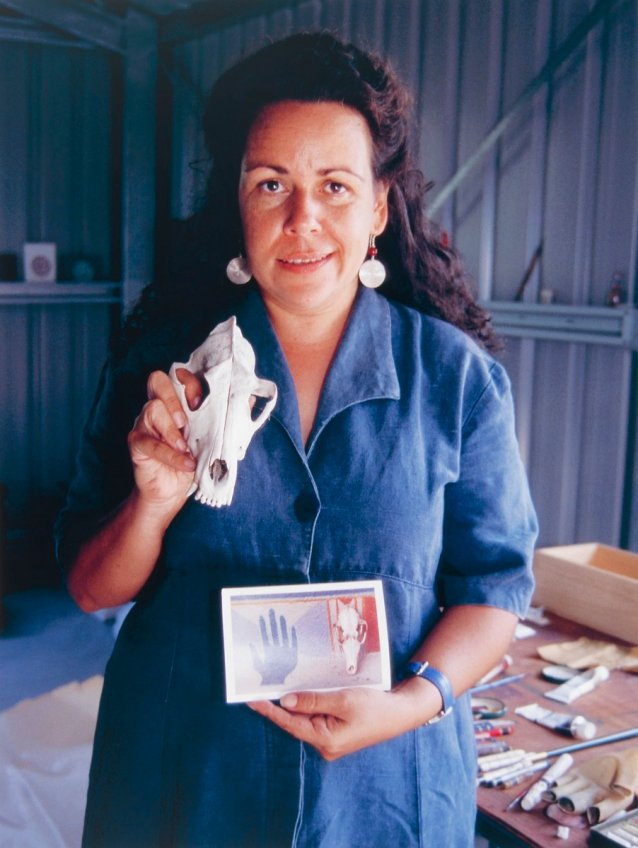 Fiona Foley in her studio at Hervey Bay