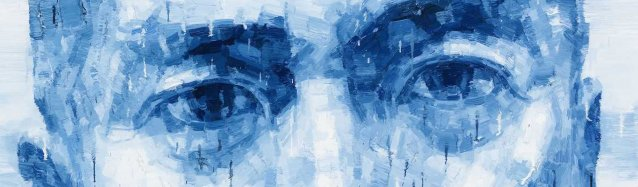 Blue painting of Charles Teo, close up view of his eyes