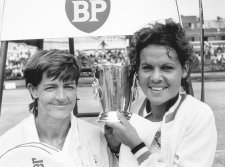 Margaret Court and Evonne Goolagong, c. 1971 by Ern McQuillan