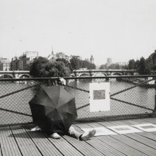 Brett Whiteley with an umbrella in Paris, c. 1989 an unknown artist