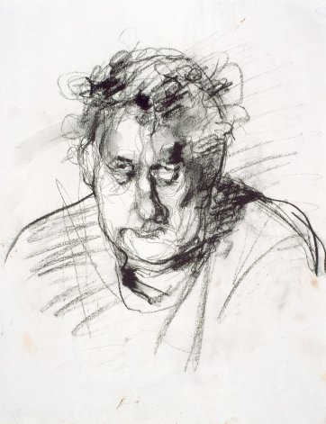Preliminary sketch of Bob Ellis, 1999 by David Naseby