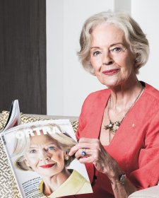 The Honourable Dame Quentin Bryce AD CVO with the Gallery's quarterly publication, Portrait.