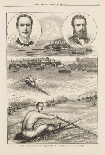 The Sculling Match at Sydney for the Championship of the World [Edward Trickett] (from the Australasian Sketcher, 4 August 1877) an unknown artist