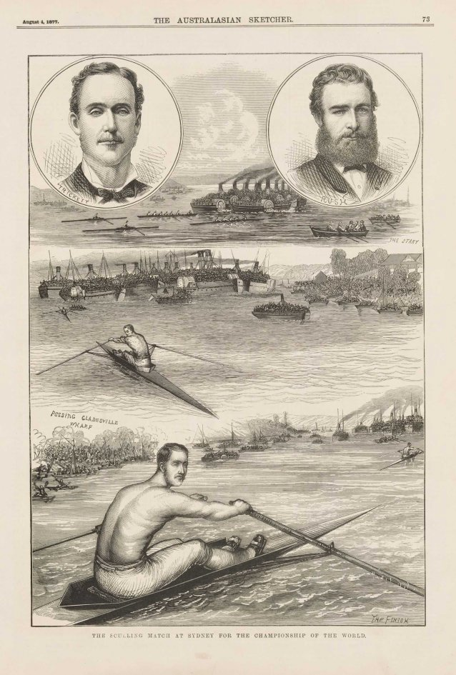 The Sculling Match at Sydney for the Championship of the World [Edward Trickett] (from the Australasian Sketcher, 4 August 1877)