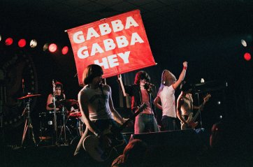 "Ramones, Hellenic Club, Woden, 16 July 1981. Performing in front of ""Gabba Gabba Hey"" banner 'pling"