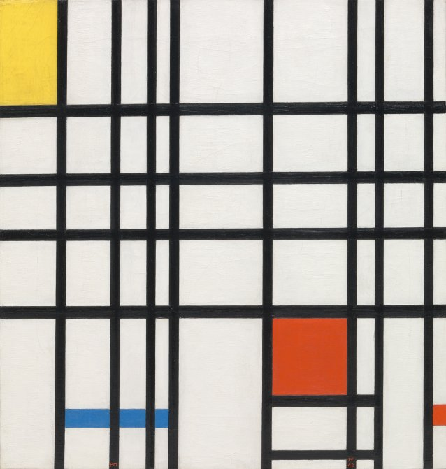 Composition with Yellow, Blue and Red, 1937-42 by Piet Mondrian