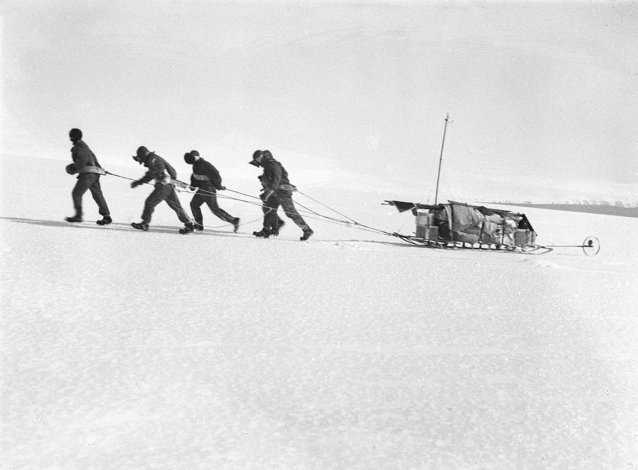 Sledge party rising on the slopes of Commonweealth Bay, Mawson in lead Frank Hurley