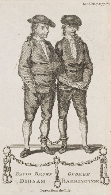 David Brown Dignam [and] George Barrington drawn from the life, 1777 by an unknown artist, The London Magazine