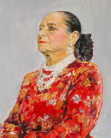 Helena Rubinstein in a red brocade Balenciaga gown, 1957 Graham Sutherland