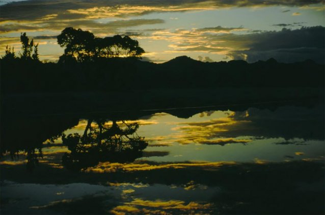 Sunset is reflected in the Lake Pedder waters as a storm approaches, Tasmania, 1971 Olegas Truchanas