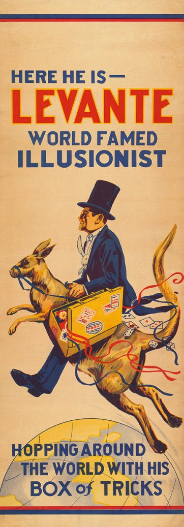 Levante, world famed illusionist hopping around the world with his box of tricks, ca.1920-33