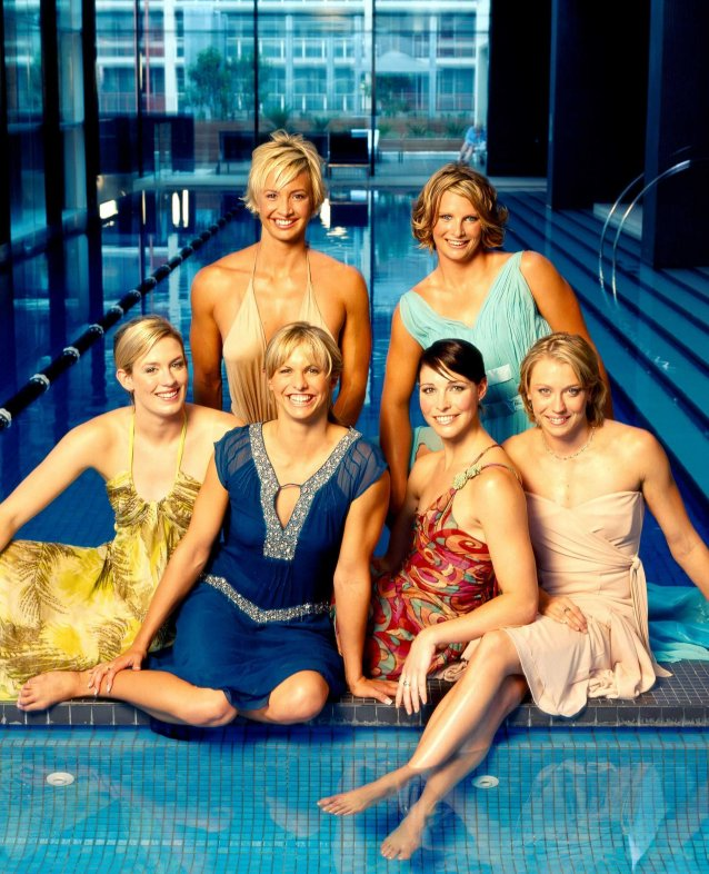 The golden girls: Jodie Henry, Lisbeth 'Libby' Trickett (née Lenton), Giaan Rooney, Alice Mills, Brooke Hanson, Liesel Jones