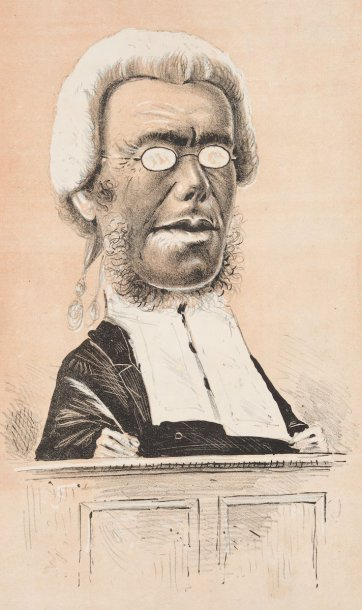 "A County Court Judge ""Sober as a Judge"" [Judge Pohlman] from the series ""Masks and Faces"", 1874 by Tom Durkin, The Weekly Times"