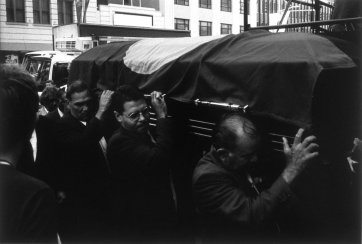 Aden Ridgeway & pallbearers entering Sydney Town Hall, State Funeral for Kwementyaye Perkins AO, 25th October 2000 by Mervyn Bishop