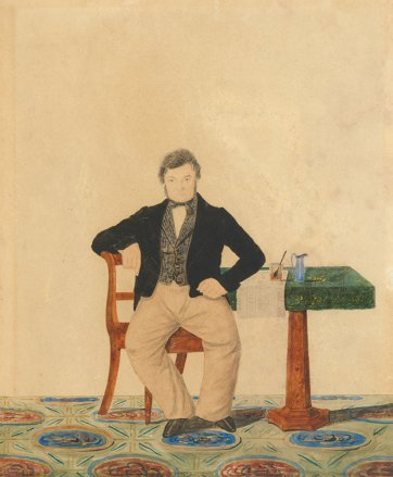 not titled (Portrait of a man seated at a table) c. 1850 by CHT Costantini