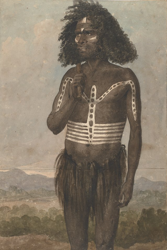 Desmond, a NS Wales chief painted for a karobbery or native dance c. 1826 by Augustus Earle