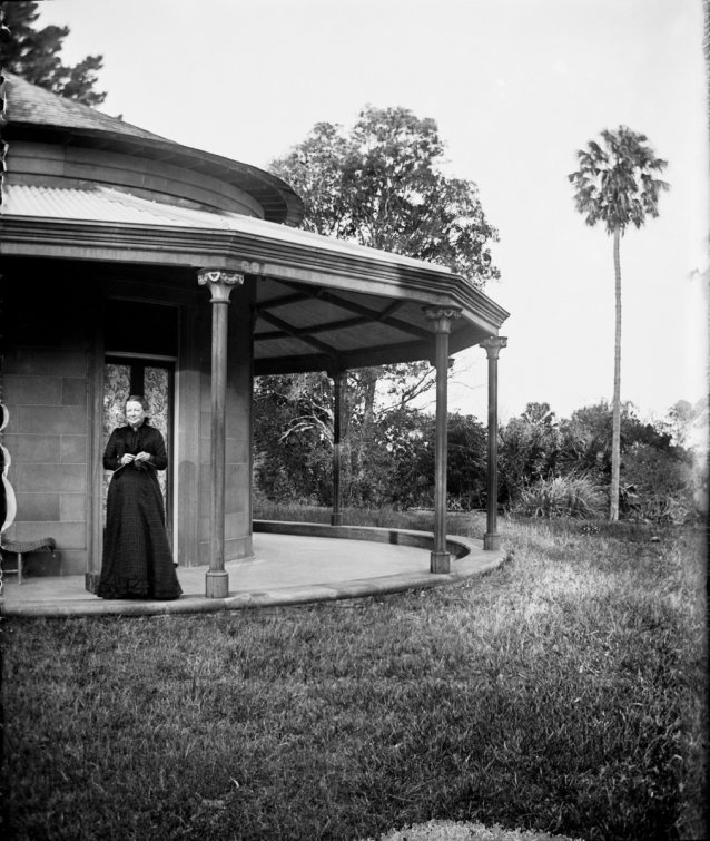 Mary Windeyer on the verandah at Tomago, NSW