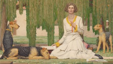 Christian Waller with Baldur, Undine and Siren at Fairy Hills, 1932 by Napier Waller