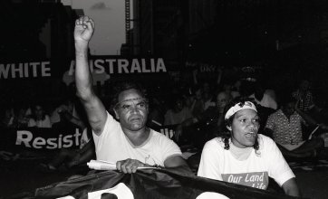 Adrian Jones and Julie Zurvas in anti Bicentenary Protest, Brisbane, 1987 Michael Aird
