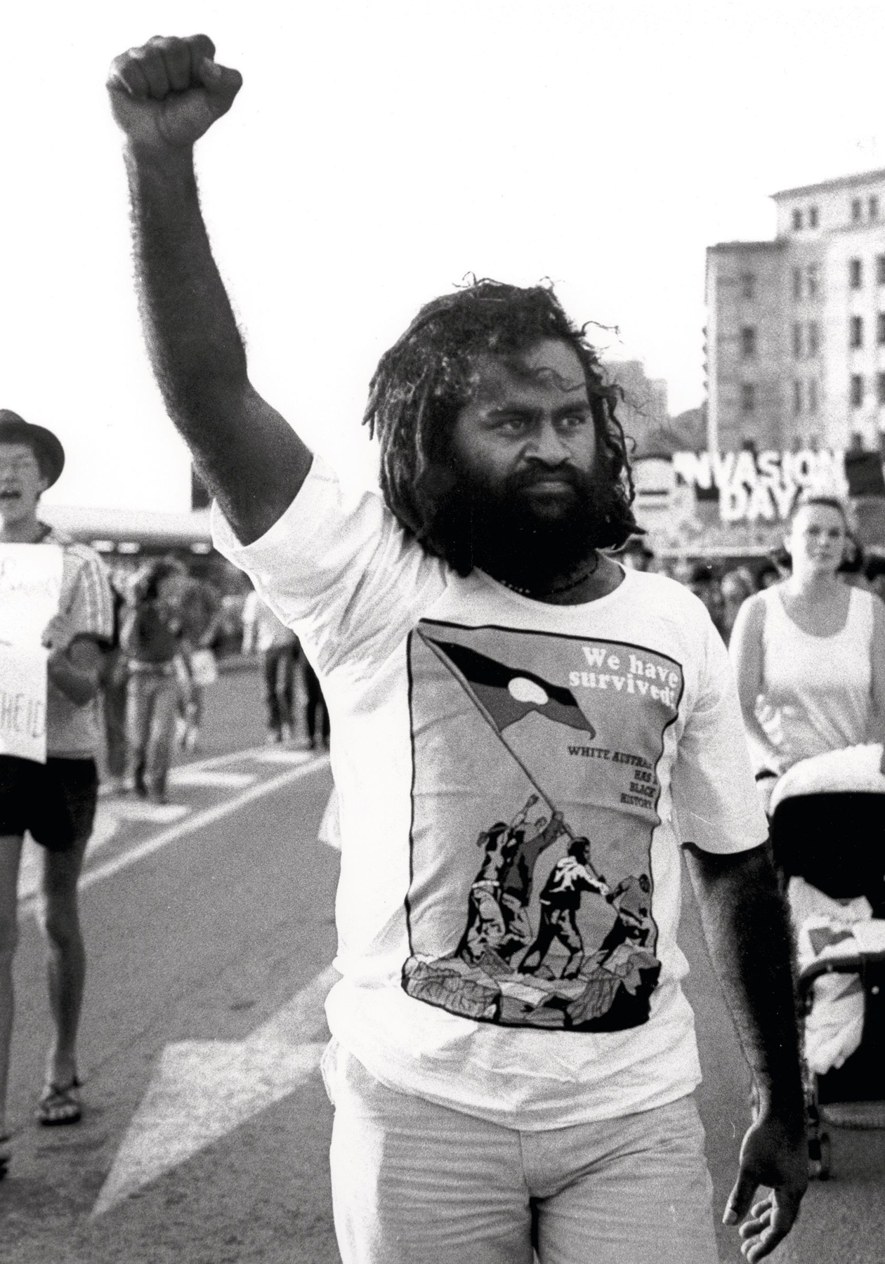Vincent Brady leading anti Bicentenary Protest, Brisbane, 1987 Michael Aird