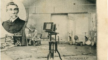 Thomas Mathewson (inset) and his studio on Queen Street, c. 1908 by Thomas Mathewson & Co